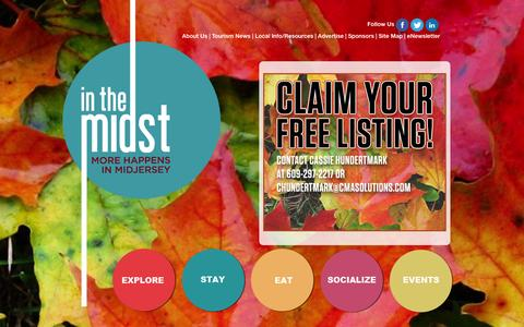 Screenshot of Home Page inthemidstnj.com - There's More to Explore in MIDJersey - MORE HAPPENS IN MIDJERSEY - captured Sept. 30, 2014