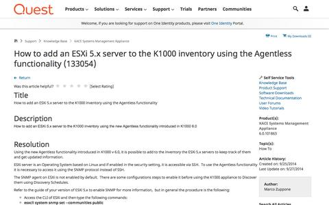Screenshot of Support Page quest.com - How to add an ESXi 5.x server to the K1000 inventory using the Agentless functionality (133054) - captured April 19, 2017