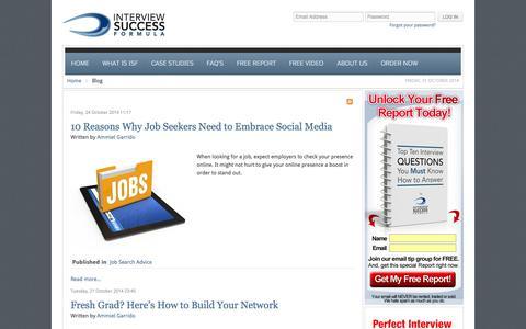 Screenshot of Blog interviewsuccessformula.com - Blog - Interview Success Formula - captured Nov. 1, 2014