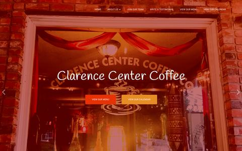 Screenshot of Home Page clarencecentercoffee.com - Clarence Center Coffee Company & Cafe - Live Music, Award Winning Restaurant in Clarence and the freshest coffee! - captured Sept. 28, 2018