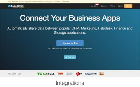 Screenshot of Home Page cloudwork.com - Cloud Business App Integrations - CloudWork - captured Sept. 13, 2014
