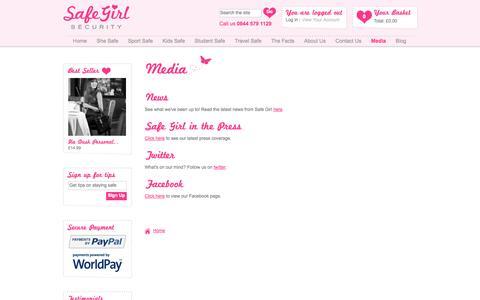 Screenshot of Press Page safe-girl.co.uk - Media - Safe Girl Security - captured Oct. 31, 2014