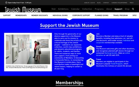 Screenshot of Support Page thejewishmuseum.org - The Jewish Museum - Support - captured Sept. 19, 2014