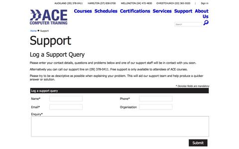 Screenshot of Support Page ace.co.nz - ACE Training - Support - captured Feb. 4, 2016