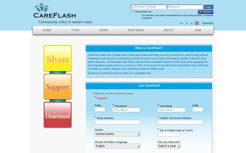Screenshot of Signup Page careflash.com - CareFlash - Join - captured July 19, 2014