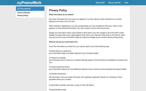Screenshot of Privacy Page Terms Page mypromowork.com - The Legal Stuff - captured Oct. 9, 2014