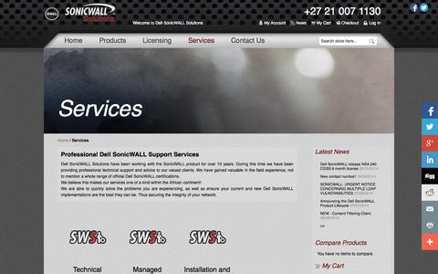 Screenshot of Services Page sonicwallsolutions.com - Services - Dell SonicWALL Solutions  South Africa - captured Nov. 5, 2014