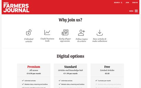 Screenshot of Signup Page farmersjournal.ie - Farmers Journal – For the Latest Farming News in Ireland - captured Oct. 12, 2018