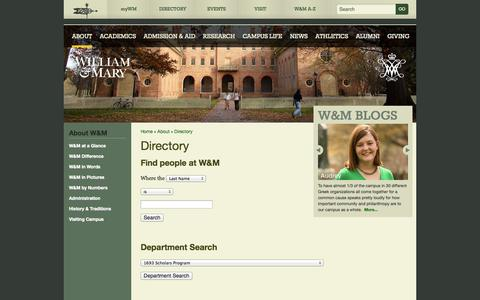 Screenshot of Team Page wm.edu - William & Mary - Directory - captured Sept. 23, 2014