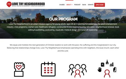 Screenshot of About Page lovethyneighborhood.org - Our Program at Love Thy Neighborhood - captured Nov. 5, 2018