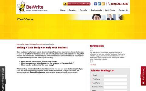 Screenshot of Case Studies Page bewrite.com.au - Writing a Case Study, Case Study Writing | BeWrite Copywriting - captured Oct. 5, 2014