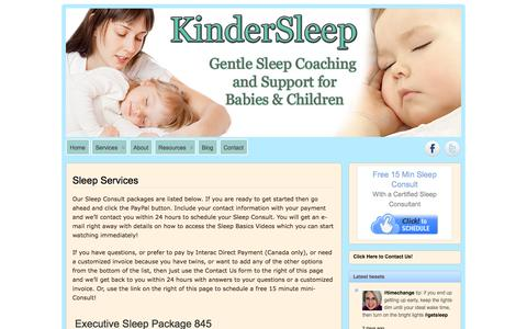 Screenshot of Services Page kindersleep.com - KinderSleep »   Sleep Services - captured Nov. 5, 2014