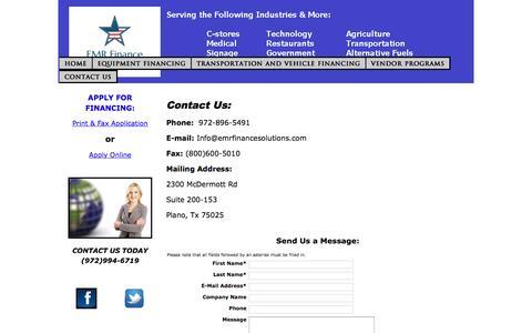 Screenshot of Contact Page emrfinancesolutions.com - Contact EMR Finance - captured Feb. 1, 2016