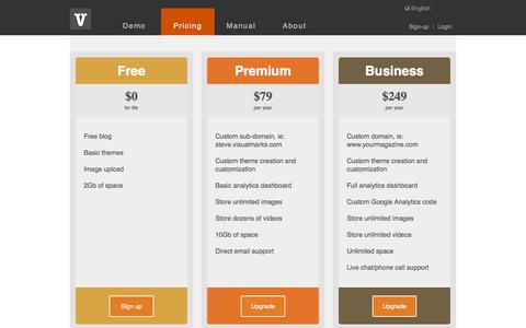 Screenshot of Pricing Page visual-marks.com - Visualmarks - visual story telling done right ! - captured Sept. 12, 2014