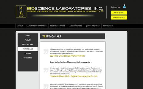 Screenshot of Testimonials Page biosciencelabs.com - Testimonials | BioScience Laboratories - captured Oct. 5, 2014