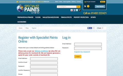 Screenshot of Signup Page Login Page specialistpaintsonline.co.uk - Floor Paint, High performance wall, ceiling and door paints to buy online. - captured Oct. 24, 2014