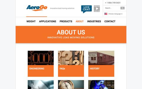 Screenshot of About Page aerogo.com - About - captured Feb. 12, 2018