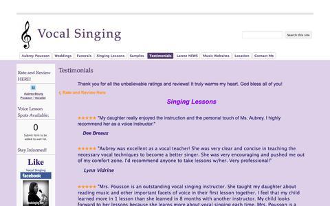 Screenshot of Testimonials Page google.com - Testimonials - Vocal Singing - captured Sept. 20, 2018