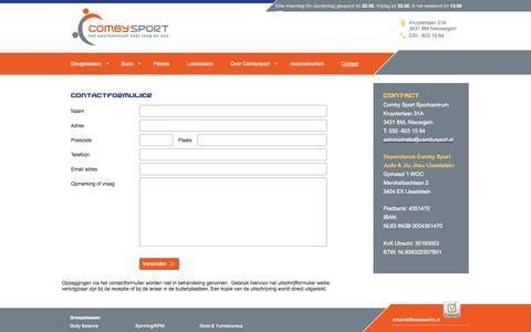 Screenshot of Contact Page combysport.nl - Contact - captured Sept. 30, 2014