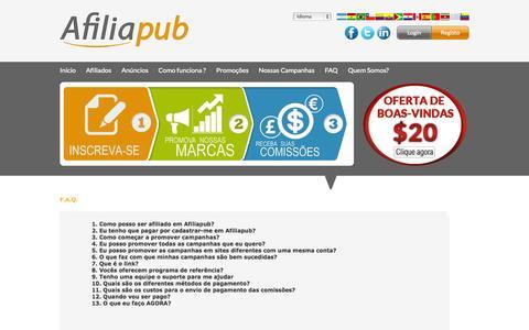 Screenshot of FAQ Page afiliapub.com - Afiliapub - Programa de afiliados em Brasil e Portugal - captured Sept. 19, 2014