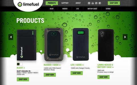 Screenshot of Products Page limefuel.com - Limefuel - captured Sept. 30, 2014
