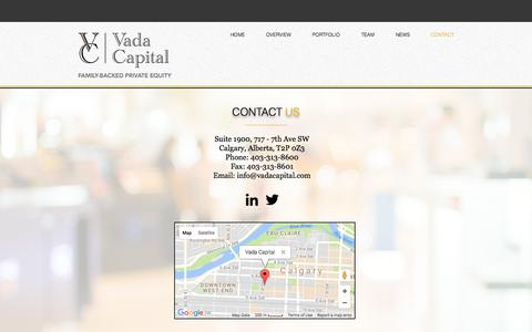 Screenshot of Contact Page vadacapital.com - Vada Capital | Contact Us - captured Nov. 11, 2017