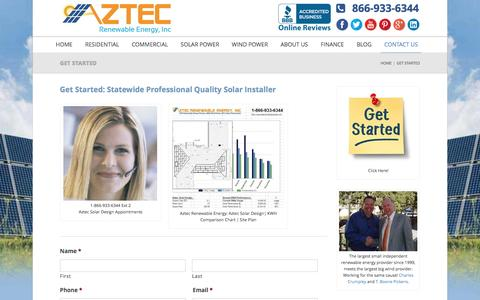 Screenshot of Contact Page aztecwindsolarpower.com - Get Started - Contact Us - Aztec Wind & Solar Power - captured Feb. 6, 2016