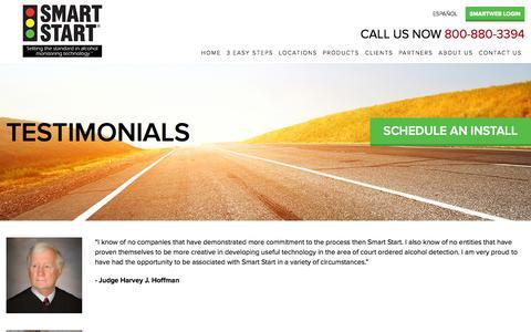 Screenshot of Testimonials Page smartstartinc.com - Testimonials   Smart Start® - captured Nov. 5, 2014