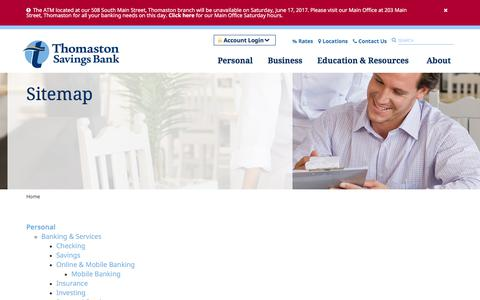 Screenshot of Site Map Page thomastonsavingsbank.com - Sitemap | Thomaston Savings Bank Site | Thomaston Savings Bank - captured June 17, 2017
