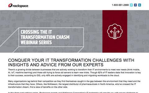 Screenshot of Landing Page rackspace.com - Crossing the IT Transformation Chasm Webinar Series - captured May 22, 2018