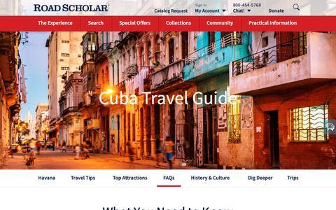 Screenshot of FAQ Page roadscholar.org - FAQs | Cuba Travel Guide | Road Scholar - captured June 8, 2019