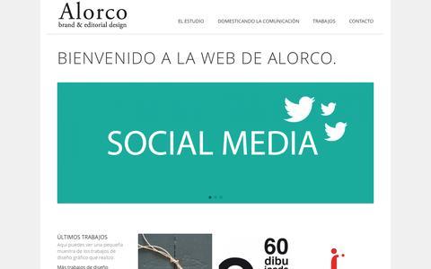 Screenshot of Home Page alorco.com - Diseño Gráfico Zaragoza - Alorco brand & editorial design - - captured Oct. 5, 2014