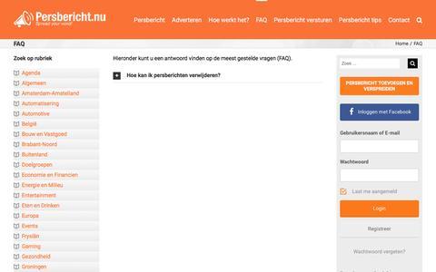 Screenshot of FAQ Page persbericht.nu - FAQ - Persbericht.nu - captured Nov. 4, 2016