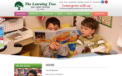 Screenshot of Hours Page learningtreedaycare.com - HOURS OF OPERATION:LEARNING TREE - captured April 15, 2016