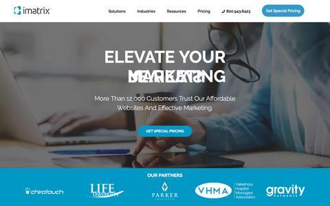 Screenshot of Home Page imatrix.com - iMatrix | Elevate Your Marketing - captured Sept. 20, 2018