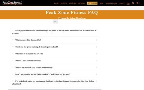 Screenshot of FAQ Page peakzonefitness.com - FAQ | Peak Zone Fitness - captured July 16, 2018