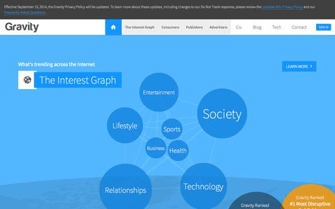 Screenshot of Home Page gravity.com - Gravity - Personalizing the Internet. - captured Sept. 16, 2014