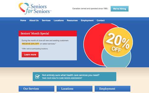 Screenshot of Home Page seniorsforseniors.ca - Home Care - Seniors for Seniors - captured June 17, 2017