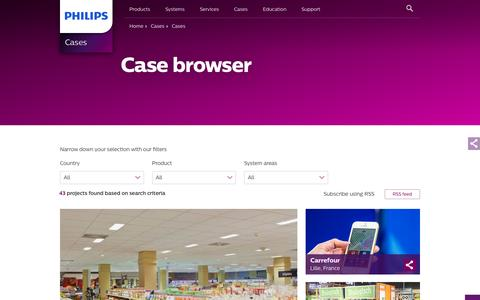 Screenshot of Case Studies Page philips.com - Case browser - Philips Lighting - captured Nov. 26, 2016