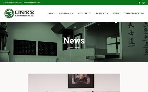 Screenshot of Press Page linxxacademy.com - News | Linxx Academy Of Martial Arts - captured Sept. 28, 2018