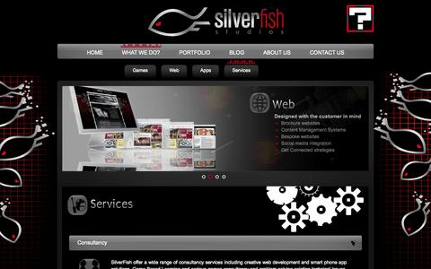 Screenshot of Services Page silverfishstudios.co.uk - SilverFish Studios | Services - captured Oct. 7, 2014