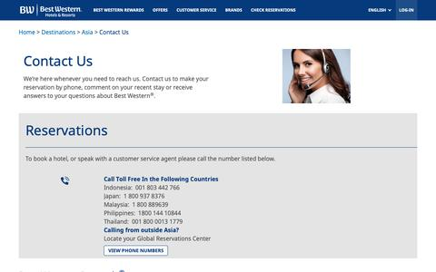 Screenshot of Contact Page bestwestern.com - Contact Office in Asia - captured Oct. 4, 2018