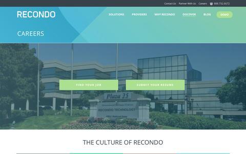 Screenshot of Jobs Page recondotech.com - Recondo Technology   �  Careers - captured Dec. 4, 2015