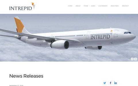 Screenshot of Press Page intrepidaviation.com - Intrepid Aviation | Commercial Aircraft Leasing - captured Sept. 26, 2016