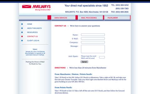 Screenshot of Contact Page Maps & Directions Page mailways.net - Mailways.net - Mailways, Inc. - Direct Mail Marketing - captured Oct. 4, 2014