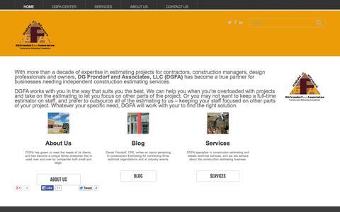 Screenshot of Home Page dgfrondorf.com - DGFA llc | Construction Estimating Consultants - captured Oct. 6, 2014