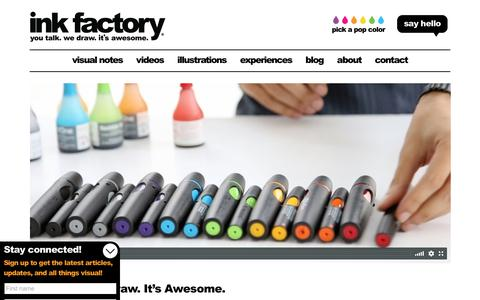Screenshot of Home Page inkfactorystudio.com - Ink Factory - You talk. We draw. It's awesome. Visual notes for meetings, conferences and events - captured Oct. 15, 2017