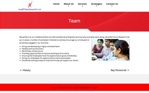Screenshot of Team Page genelifecr.com - Team - Genelife Clinical Research Pvt. Ltd. - captured July 5, 2017