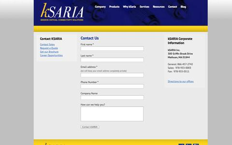 Screenshot of Contact Page ksaria.com - Contact kSARIA | Mission Critical Connectivity Solutions | Military and Aerospace Fiber Optic Assembly - captured Sept. 16, 2014