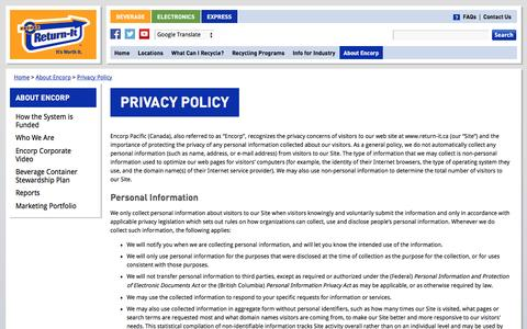 Screenshot of Privacy Page return-it.ca - Privacy Policy | Encorp Pacific (Canada) - captured June 2, 2016